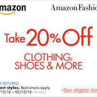 Amazon.com 20% OFF Clothing, Shoes & More (NO Min Spend) Coupon Code 14 - 16 Feb 2016