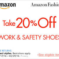 Read more about Amazon.com 20% OFF Work & Safety Shoes (NO Min Spend) Coupon Code 19 Feb - 1 Mar 2016