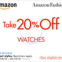 Read more about Amazon.com 20% OFF Watches (NO Min Spend) Coupon Code 5 - 16 Feb 2016