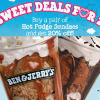 Ben & Jerry's 20% Off Two Hot Fudge Sundaes Valentine's Day Promo 14 Feb 2016