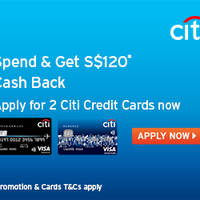 Read more about Citibank Apply For 2 Credit Cards & Get $120 Cashback from 14 Feb - 30 Jun 2016