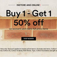 Cotton On 50% Off 2nd Piece Women's & Men's Promo From 15 Feb 2016
