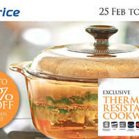Redeem exclusive Visions thermal-shock resistant (refrigerator or freezer, oven, microwave, stovetop or rangetop, halogen, serving, dishwasher) cookware when you spend at NTUC Fairprice