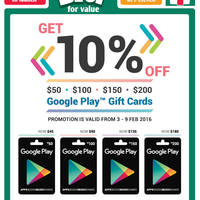 Read more about Google Play Gift Cards 10% Off Promo @ 7-Eleven 3 - 9 Feb 2016