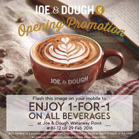 Read more about Joe & Dough 1-for-1 All Beverages @ Waterway Point 5 - 29 Feb 2016