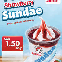 Jollibee 1-for-1 Strawberry Sundae @ Lucky Plaza 13 - 29 Feb 2016