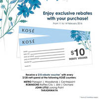 Read more about Kose Spend $120 & Get Free $10 Rebate Voucher 11 - 14 Feb 2016