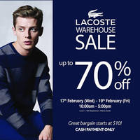 Read more about Lacoste Warehouse Sale @ Wisma Gulab 17 - 19 Feb 2016