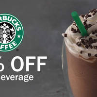 Starbucks 50% OFF 2nd Beverage Coupon 7 - 9 Feb 2016