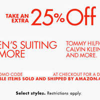 Read more about Amazon.com 25% OFF Men's Suiting & More (NO Min Spend) Coupon Code 17 - 28 Mar 2016