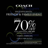 Read more about Coach Friends & Family Event @ IMM 17 - 20 Mar 2016