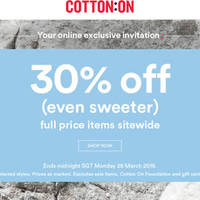 Read more about Cotton On 30% OFF Storewide Men, Women, Kids, Home, Typo, Rubi & More 26 - 28 Mar 2016