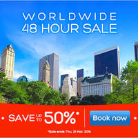 Hotels.Com is having an up to 50% sale for 48 hours only. Travel dates: Mar 30, 2016 - May 12, 2016