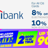 Read more about Lazada 8% to 10% Off Storewide For Citibank Cardmembers (NO Min Spend) 15 - 17 Mar 2016