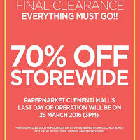 Read more about PaperMarket Final Clearance @ Clementi Mall 8 - 26 Mar 2016