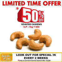 Read more about Seeds of Joy 50% Off Roasted Cashew 1 - 14 Mar 2016