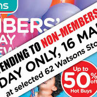 Read more about Watsons 1-for-1, Up To 50% Off & More Sale @ 62 Stores 15 - 16 Mar 2016