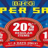 BHG will be having a 20% off regular-priced items storewide promotion from 29 April to 2 May 2016. Enjoy 20% off regular-priced items, 15% off sale items and 10% off cosmetics!