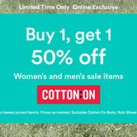 Read more about Cotton On 50% Off 2nd Piece Women's & Men's Promo From 4 Apr 2016