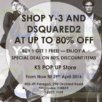 Read more about Dsquared2 & Y-3 Up To 80% Off @ Paragon 8 - 29 Apr 2016