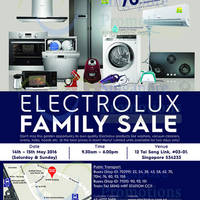 Electrolux will be having a family sale from 14 May to 15 May 2016. Don't miss this golden opportunity to own Electrolux appliances at up to 70% discount!