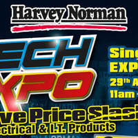 Harvey Norman is having a Tech Expo with Massive Price Slash on Electrical & I.T. Products at Singapore Expo Hall 5A from 29th April to 2 May 2016, 11am to 930pm