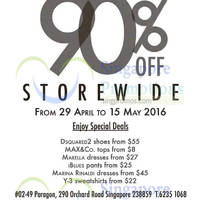 Enjoy 90% off storewide on Iblues, Marina Rinaldi, Marella, Max&Co, Y-3, DSquared2 and more at Kwang Sia's pop-up store from 29 April to 15 May 2016 at Paragon