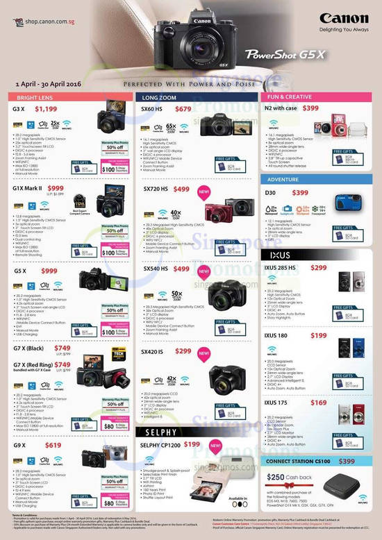 Canon G3X Digital Camera, Canon G1X Mark II Digital Camera, Canon G5X Digital Camera, Canon G7 X (Black) Digital Camera, Canon G9X Digital Camera, Canon SX60 HS Digital Camera, Canon SX720 HS Digital Camera, Canon SX540 HS Digital Camera, Canon SX420 IS Digital Camera, Canon SELPHY CP1200 Digital Camera, Canon N2 with case Digital Camera, Canon D30 Digital Camera, Canon IXUS 285 HS Digital Camera, Canon IXUS 180 Digital Camera and Canon IXUS 175 Digital Camera