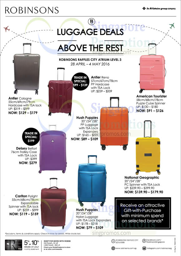 Robinsons Luggage Deals at JEM 28 Apr – 4 May 2016