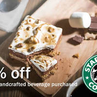 Enjoy 20% off any cake or pie when you purchase any handcrafted beverage on 30 April 2016 at Starbucks