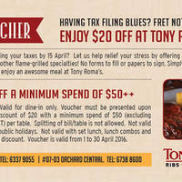 Read more about Tony Roma's $20 off $50 Spend Coupon 1 - 30 Apr 2016