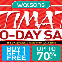 Read more about Watsons Ultimate Two-Days Sale at All Stores from 26 - 27 Apr 2016