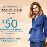 Read more about wt+ Brands Spend $50 & Get $50 Shopping Credits 7 - 20 Apr 2016
