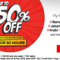 Read more about Air Asia Up to 50% off Returning Flight 50hr Promo from 16 - 18 May 2016