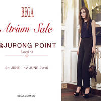 Kickstart June the right way by updating your wardrobe with BEGA. Bega will be having a Atrium Sale at Jurong Point from 1 June to 12 June 2016