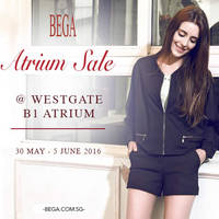 Bega will be having a Atrium Sale at Westgate from 30 May to 5 Jun 2016. Get discounts of up to 70% for Bega apparels, accessories and bags