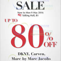 Takashimaya is having a Designer Brands Sale now to Mon 9 May 2016 at Talking Hall, B1. Enjoy up to 80% off DKNY, Carven and Marc by Marc Jacobs