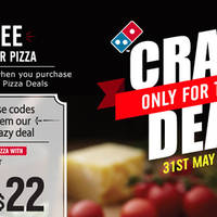 Enjoy a Free regular pizza at Domino's Pizza valid for today 31 May only with these coupon codes. Simply key in the coupon codes below and enjoy savings of $22.80