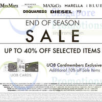 Dsquared2, Diesel, MaxMara, Weekend Maxmara, Max&Co, Marella, Y-3 and iBlues has started their end of season sale from 26 May 2016