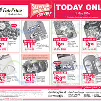 Stretch your dollar and save with NTUC Fairprice's one-day offers valid only on 1 May 2016. Limited to 4 units per product per customer.