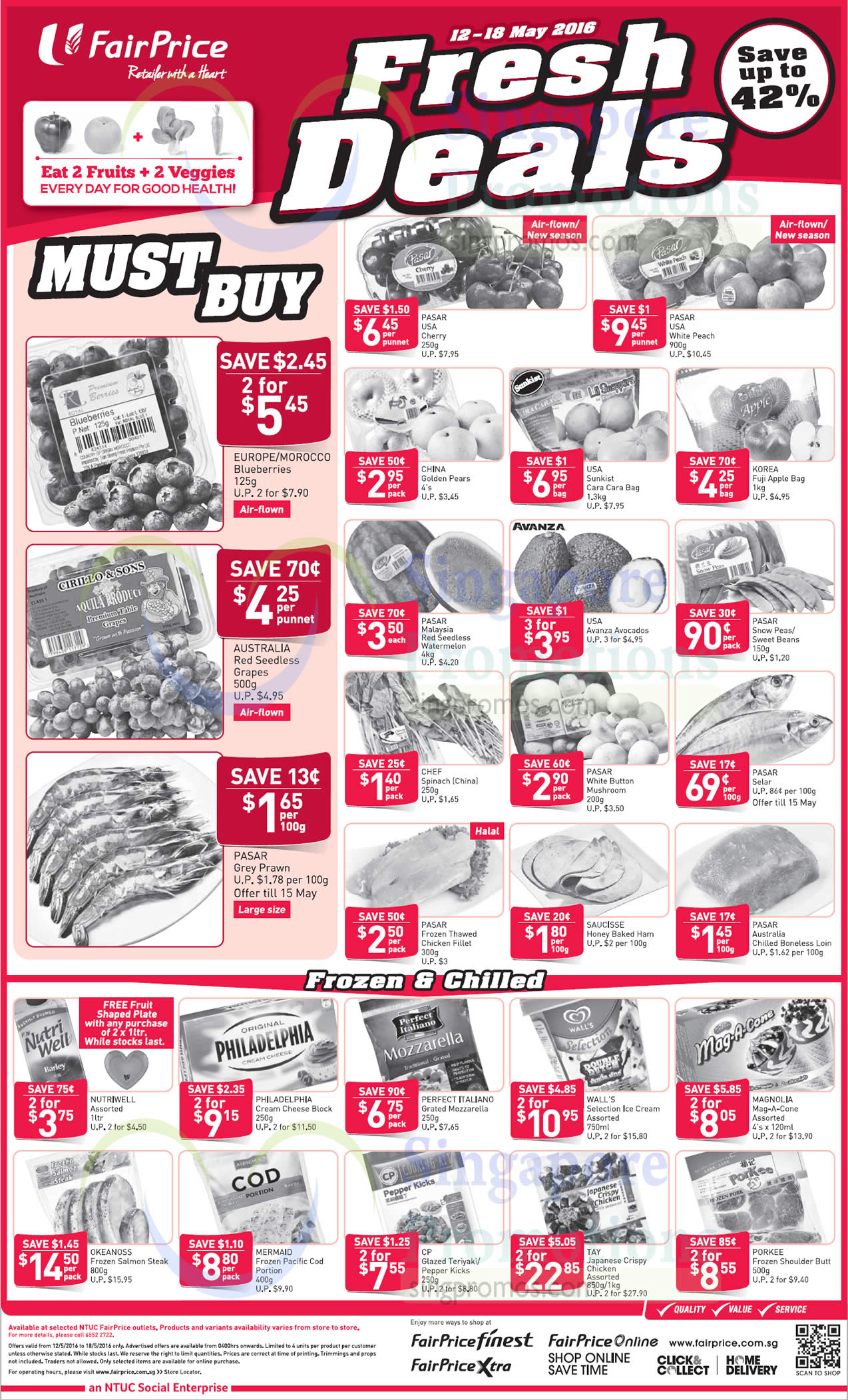 Fresh Deals, USA CHerry, White Peach, Blueberries, Avocado, Walls Ice Cream, Mag-A-Cone