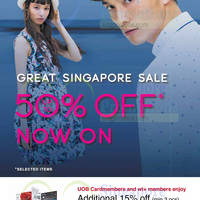Smarten up at G2000's Great Singapore Sale, with markdowns of up to 50% off! Exclusive for UOB and wt+ members, enjoy an additional 15% off your final bill (min. 3 pcs) till 15 June