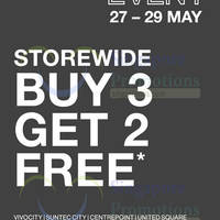 Buy 3 get 2 free at your nearest Gap store from now till 29 May 2016. Valid in all Gap stores at VivoCity, Suntec City Mall, Centrepoint and United Square