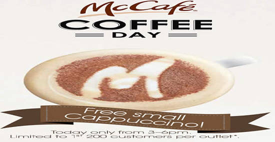McDonalds Free Cappuccino Feat 20 May 2016