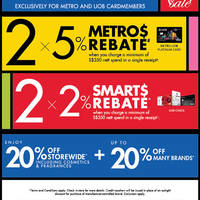 From 27 to 29 May 2016, enjoy 20% off storewide at Metro including cosmetics and fragrances. Plus, enjoy up to 20% off many brands. Exclusively for UOB and Metro cardmembers only