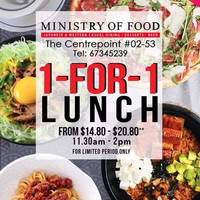 Ministry of Food celebrates its opening at Centrepoint with 1-for-1 opening lunch special. Prices start from $14.80 to $20.80++ and lunch hours are between 11.30am to 2pm.