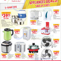 Morries appliances such as kettles, food processors, multi cookers, bread makers and more are at going at special offers at Fairprice till 18 May 2016