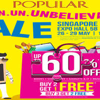 Popular will be having a organising a Un. Un. Un. Unbelivable Sale at Singapore Expo Hall 5B from 26 - 29 May 2016. Look out for Buy 2 get 1 free and buy 3 get 2 free offers, while stocks last