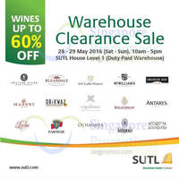 SUTL will be having a Wines clearance sale featuring discounts of up to 60% off at SUTL House (100J Pasir Panjang Road, Level 1). Brands include Bleasdale, Farnese, Ochagavia and more