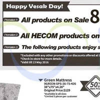 Sea Horse celebrates Vesak Day with a 8% OFF storewide promotion till 23 May 2016, 30% to 50% off selected products and all HECOM products at 30% off